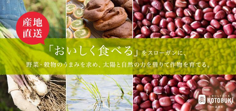 産地直送 「おいしく食べる」をスローガンに、 野菜・穀物のうまみを求め、太陽と自然の力を借りて作物を育てる。